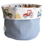 stoere voertuigen opbergmandje baby en kinderkamerdecoratie