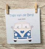 Geboortekaartje Volkswagen bus blauw