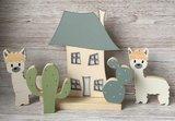 houten alpaca en cactus thema zoo babykamer decoratie