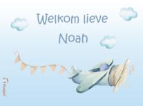 Geboortebord droomwereld vliegtuig