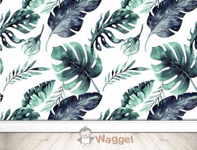 Behang tropische bladeren