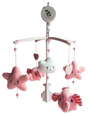 Muziekmobiel roze olifantjes, sterren en wolkje