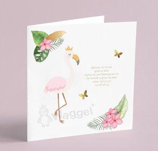 Geboortekaartje flamingo thema