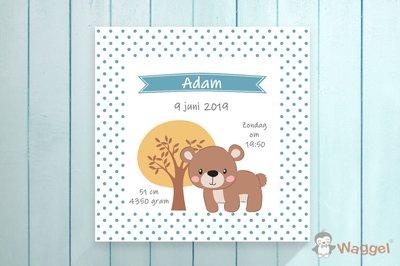 geboortecanvas beer them bosdieren