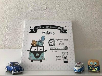 Volkswagen bus mint geboortecanvas baby en kinderkamer decoratie