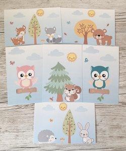 Bosdieren kaarten decoratie baby en kinderkamer