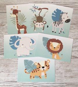 Safari jungle kaarten baby  en kinderkamer decoratie