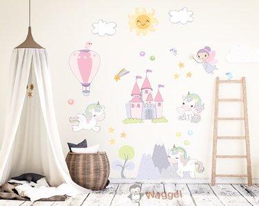 Muursticker eenhoorns baby en kinderkamerdecoratie