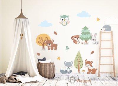 Muursticker bosdieren baby en kinderkamerdecoratie