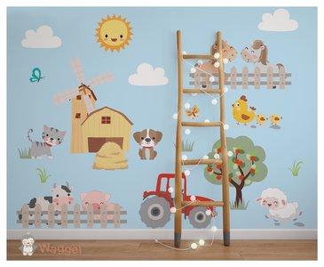 boerderijdieren behang baby en kinderkamer