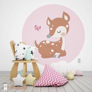 bosdieren hertje muursticker rond baby en kinderkamerdecoratie