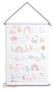abc poster regenboog roze baby en kinderkamerdecoratie