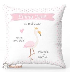 flamingo geboortekussen