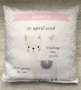 geboortekussen hoesje alpaca