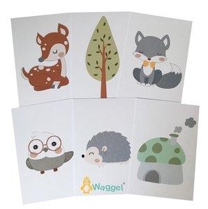 Bosdieren kaartenset baby en kinderkamer decoratie